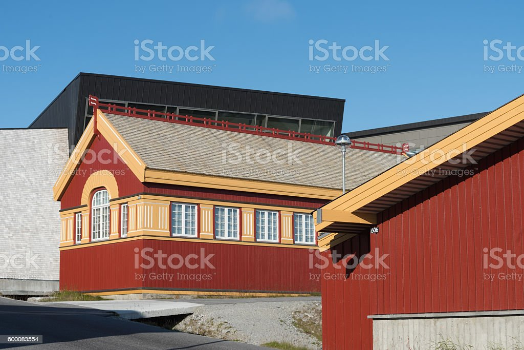 Typical architecture in Nuuk, the charming capital of Greenland stock photo