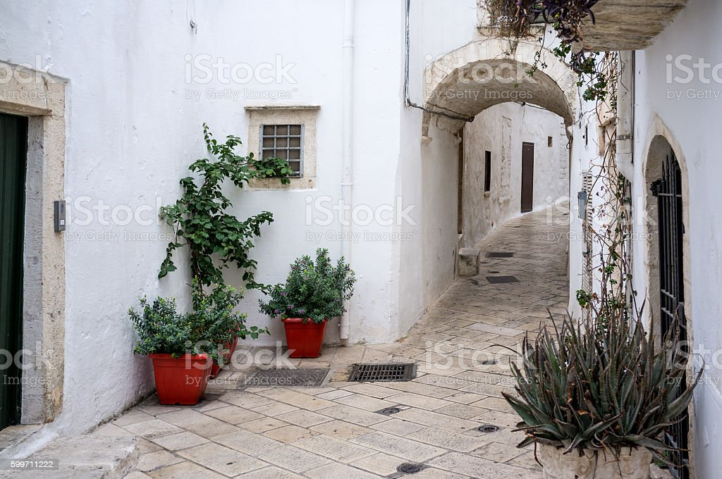 Typical architecture in the Italian town of Ostuni, Apulia, Italy stock photo