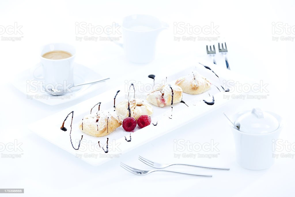 typical austrian sweet snack with coffee, high key stock photo