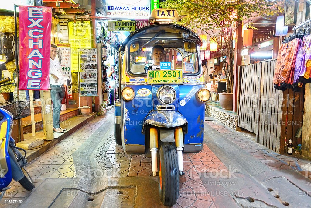 Typical auto rickshaw taxi tuk-tuk in Khao San Road Bangkok stock photo