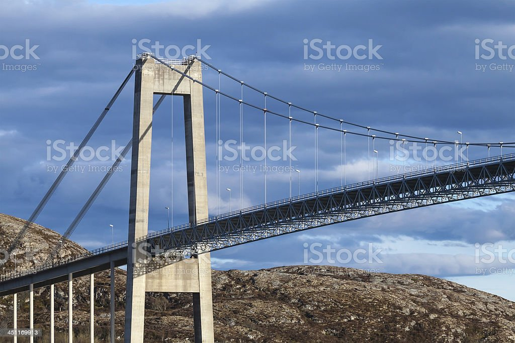 Typical automobile cable-stayed bridge. Rorvik town, Norway stock photo