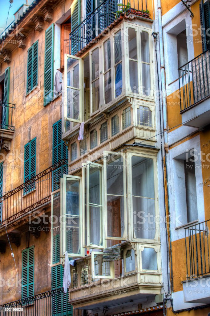 Typical Balconies, Palma, Mallorca stock photo