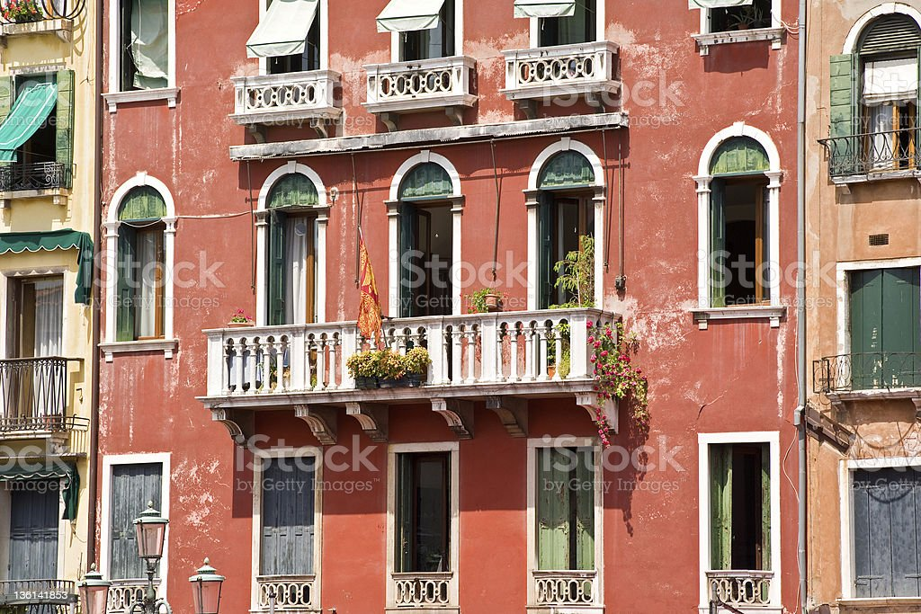 Typical balcony on an old house in Venice,Italy royalty-free stock photo