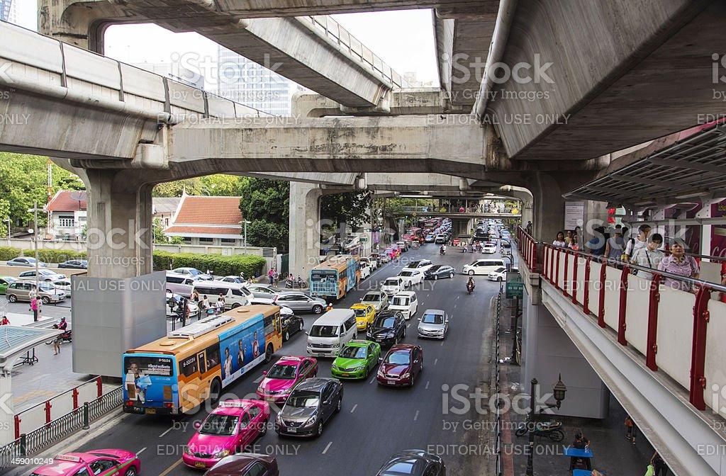 Typical Bangkok street. royalty-free stock photo
