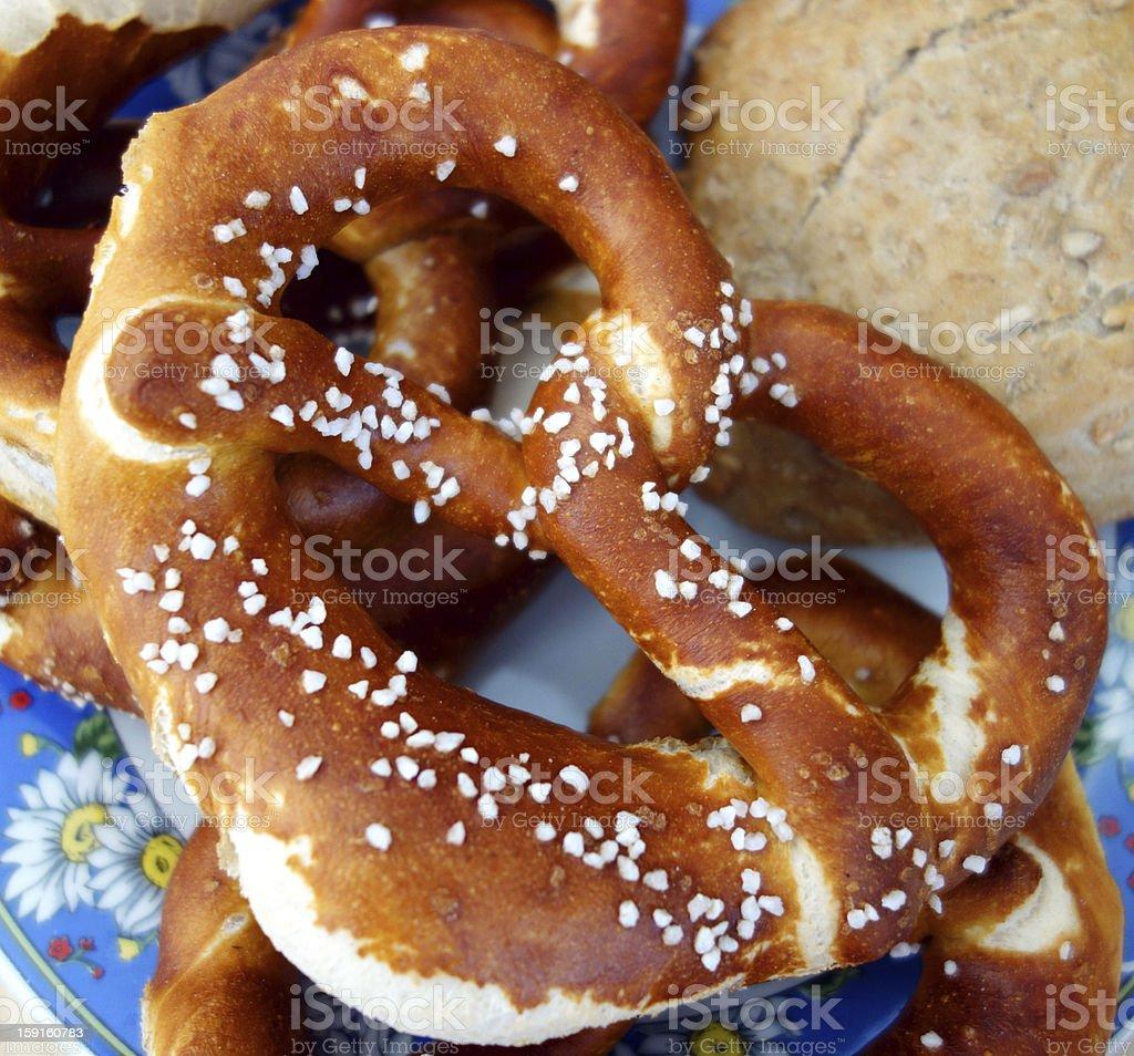 Typical bavarian breakfast pretzel stock photo
