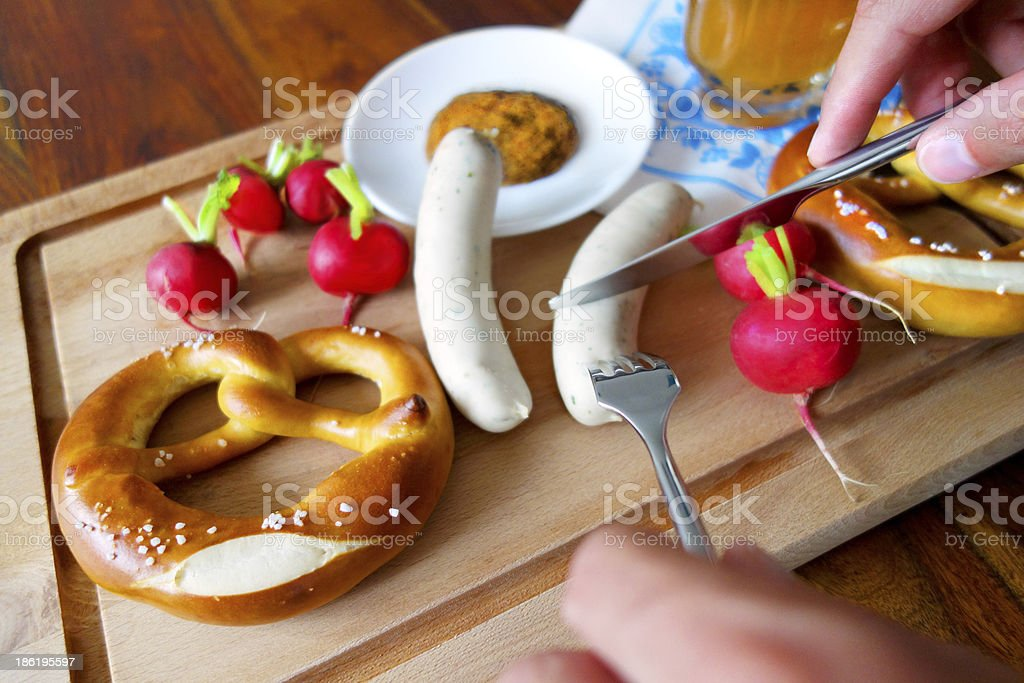Typical bavarian breakfast pretzel royalty-free stock photo