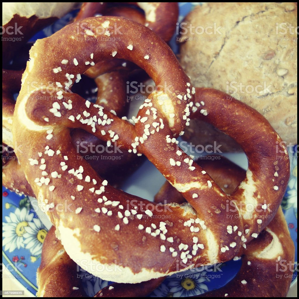 Typical bavarian breakfast pretzel stock photo