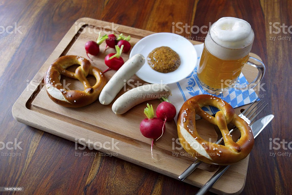 Typical bavarian lunch at Munich's Oktoberfest royalty-free stock photo