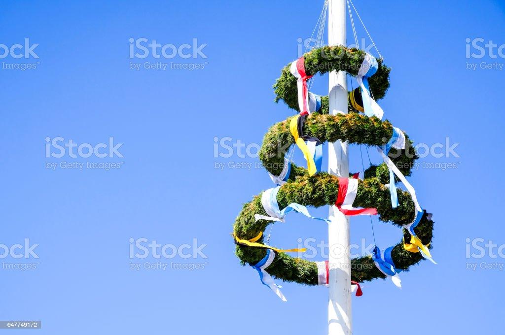 typical bavarian maypole stock photo