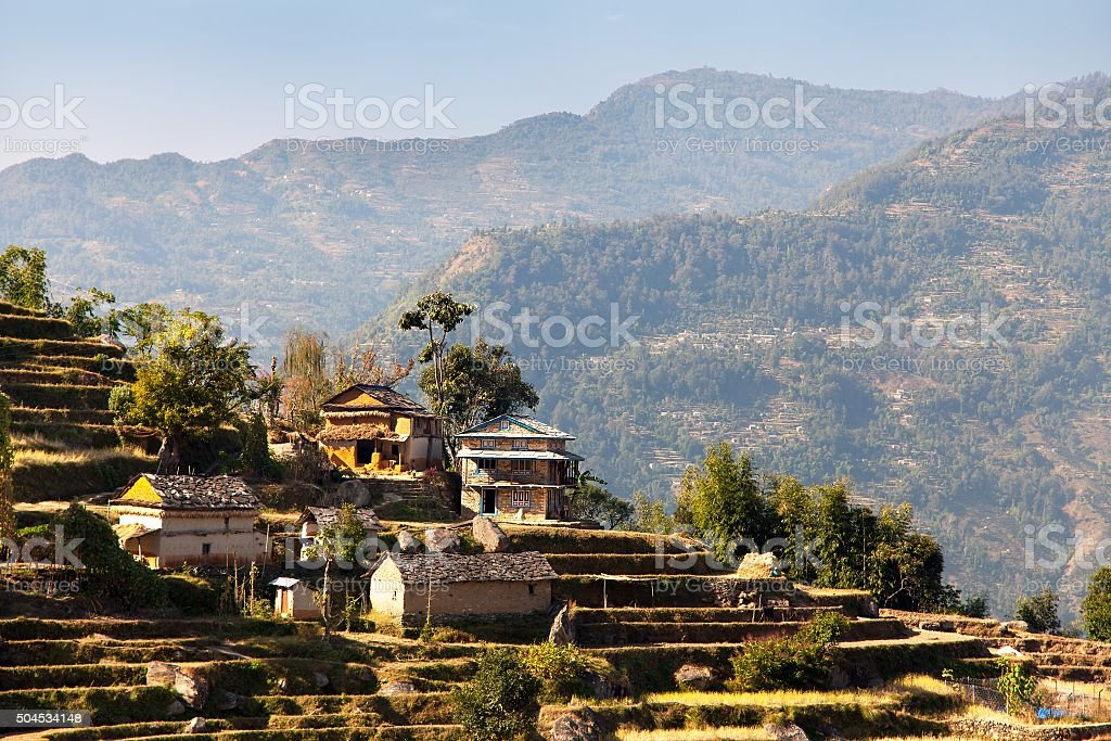 Typical Beautiful village in Nepal stock photo
