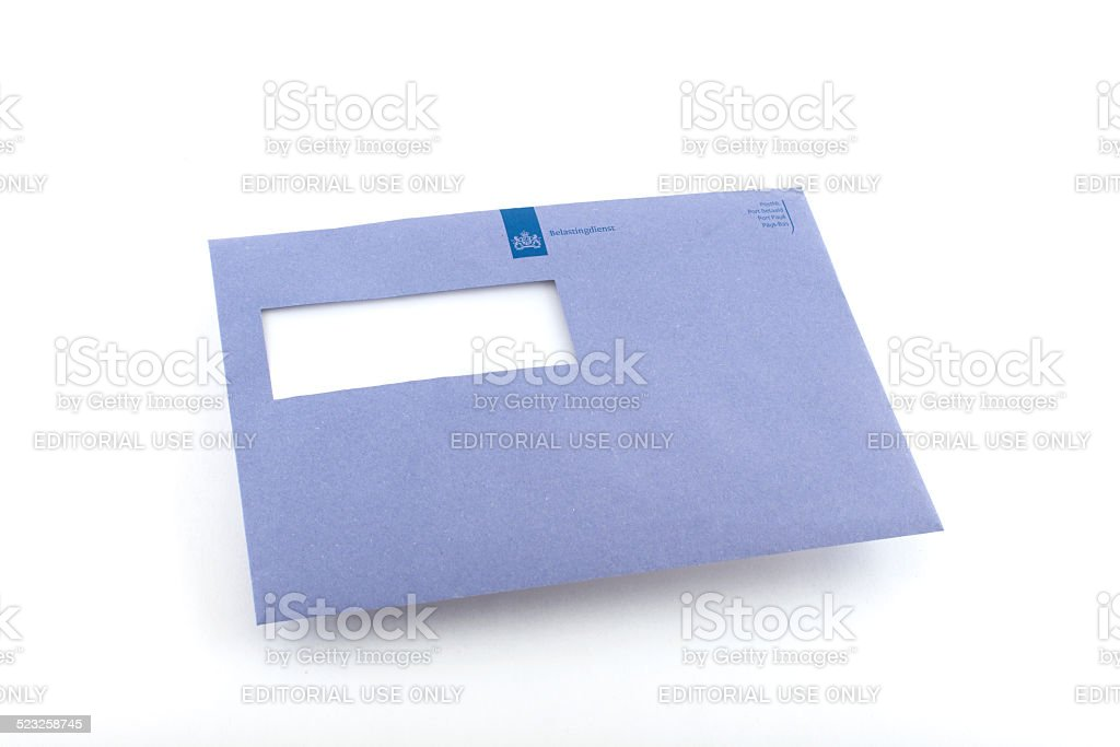 Typical blue envelope of the Dutch IRS stock photo