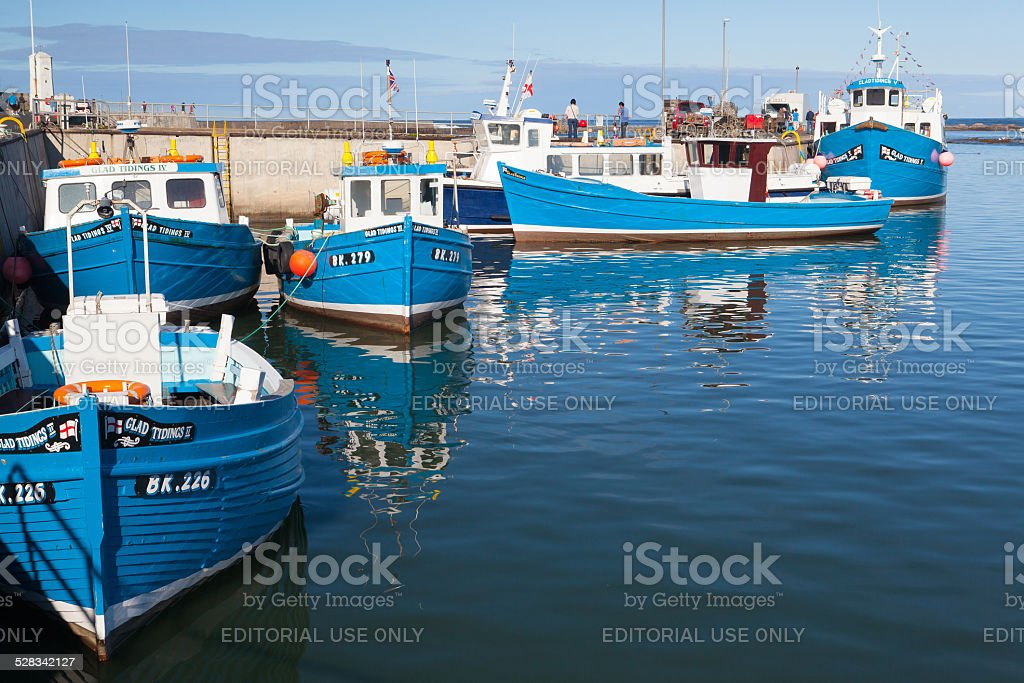 Typical blue fishing boats stock photo