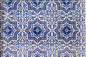 Typical blue tiles in Lisbon at makro view