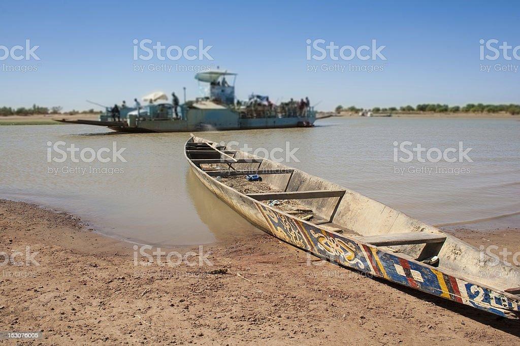 Typical boat, Djenné, Mali, Africa. stock photo