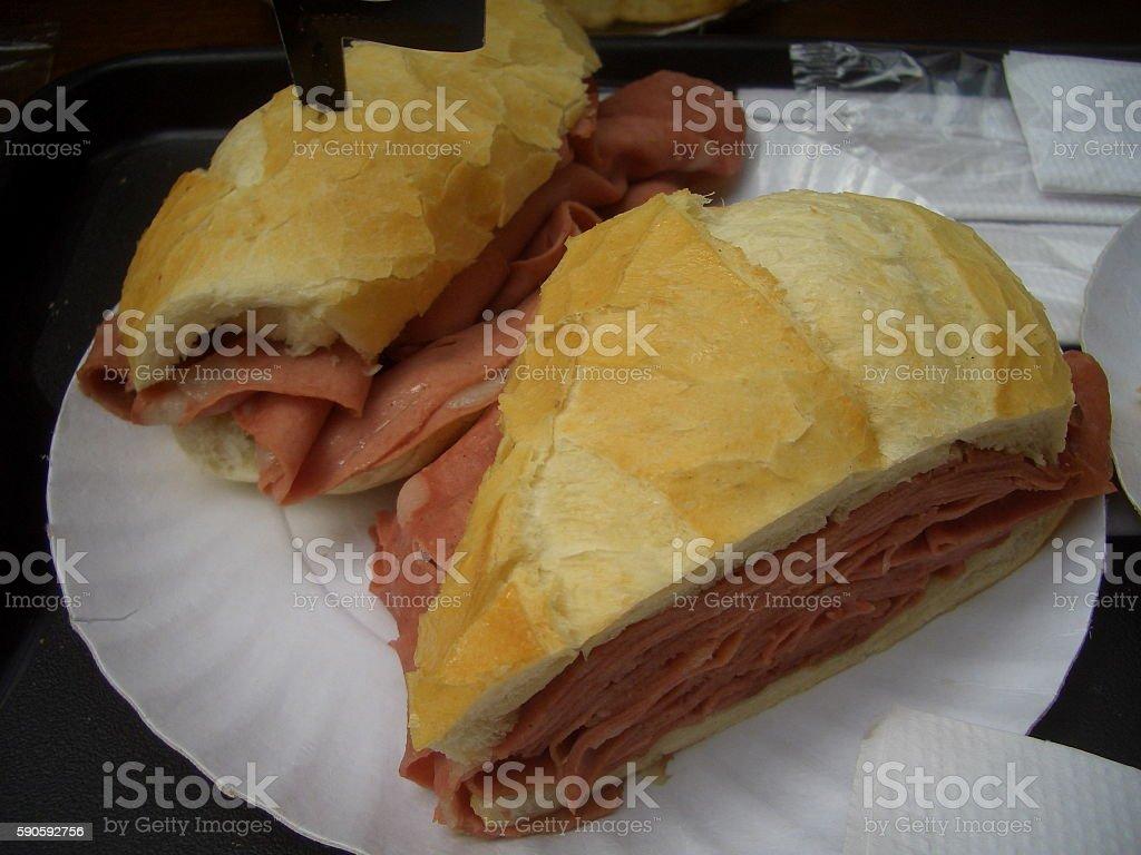 Typical Brazilian mortadela sandwich in Sao Paulo, Brazil stock photo