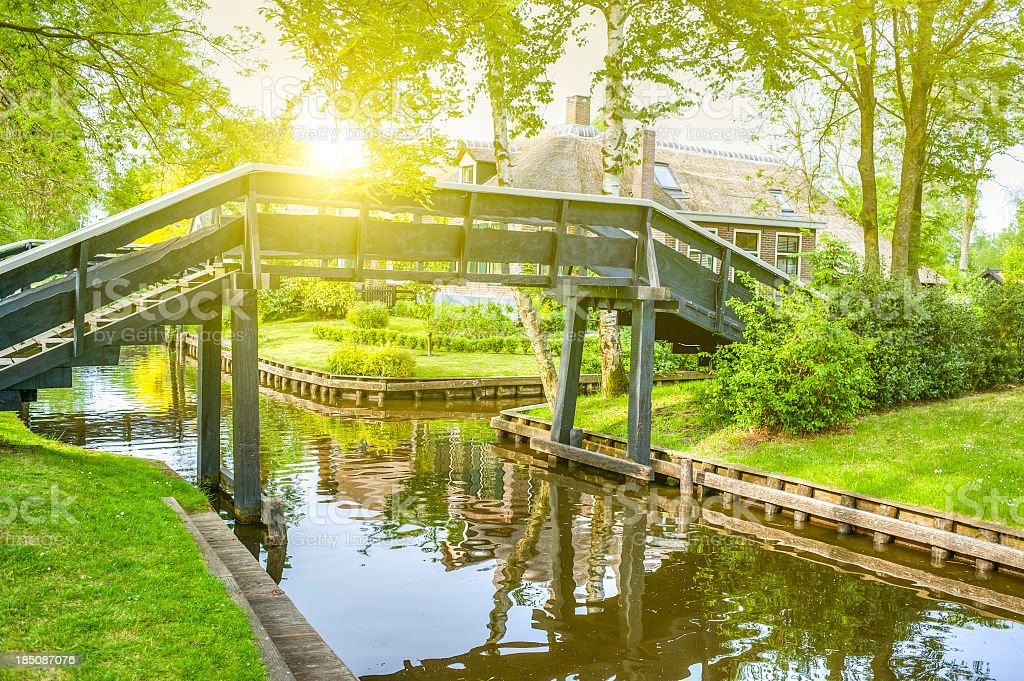 Typical Bridge In Giethoorn, Netherlands royalty-free stock photo
