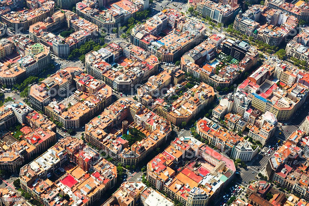 typical buildings of Barcelona cityscape from helicopter. Cata stock photo