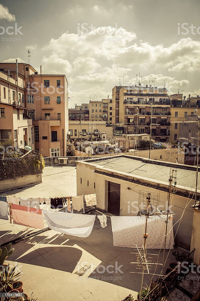 Typical buildings of San Lorenzo distric, Rome stock photo