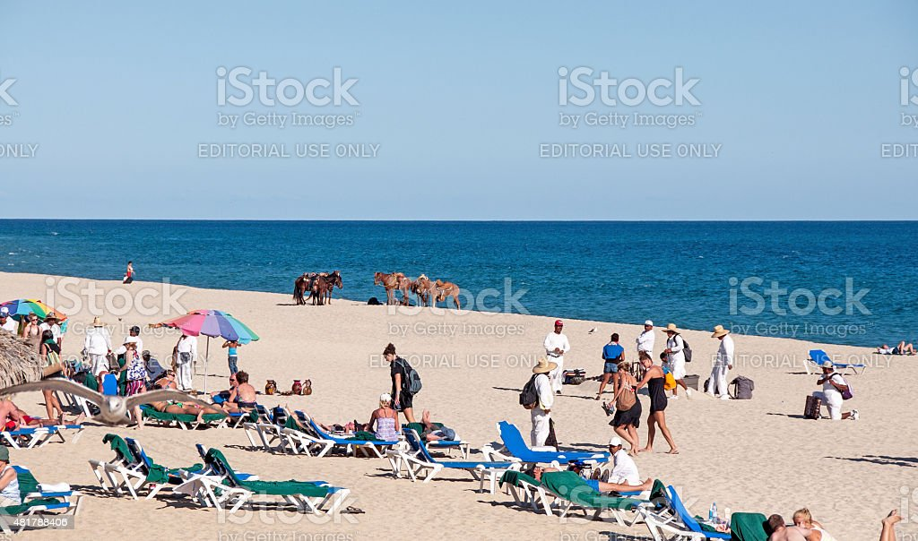 Typical Cabo beach scene with vendors and tourists. stock photo
