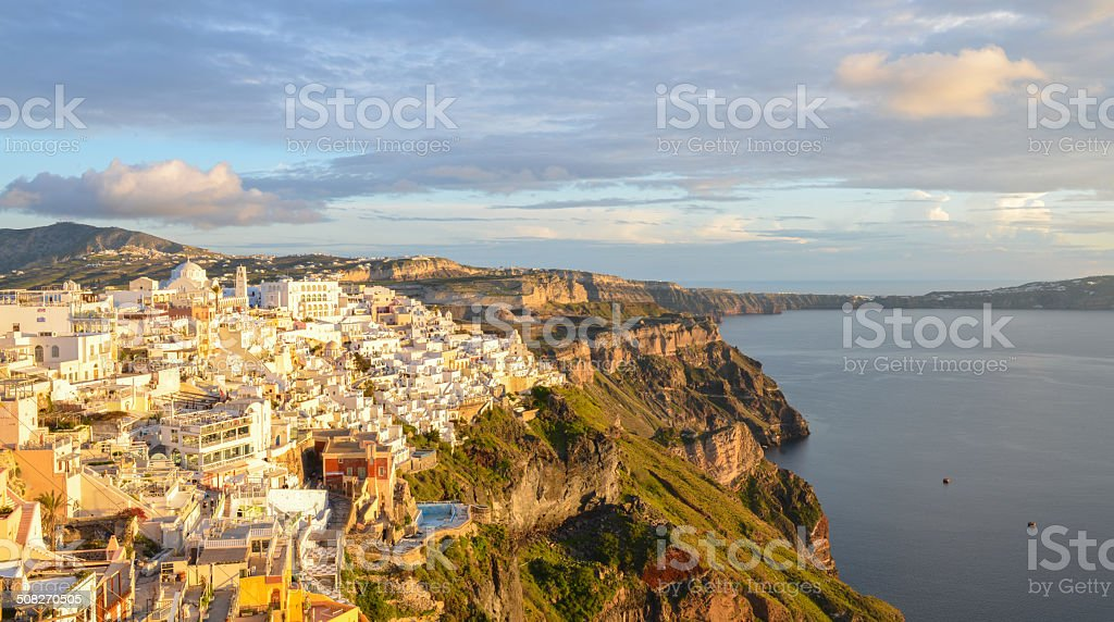 Typical caldera view of Santorini buildings when sunset royalty-free stock photo