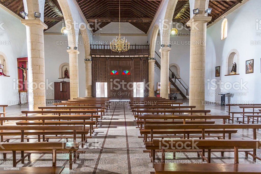 Typical Canary style white church building in La Oliva village stock photo