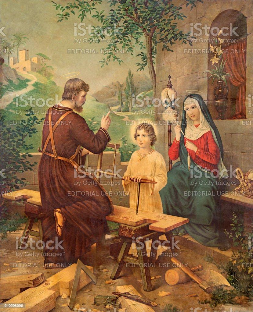 Typical catholic image printed image of Holy Family stock photo