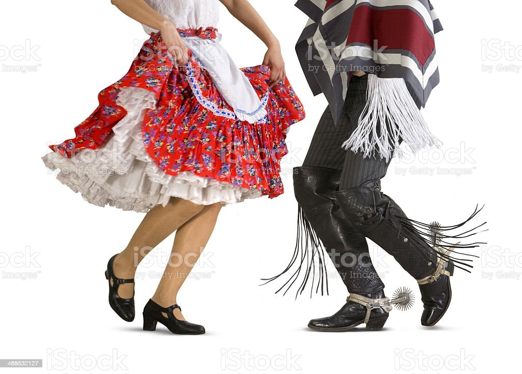 Typical Chilean two dancers legs stock photo