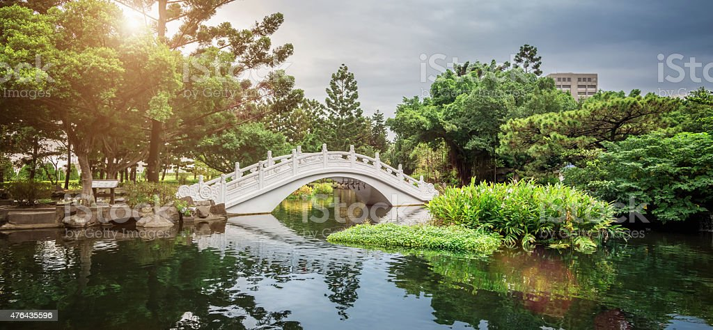 Typical Chinese Garden with Lake and Bridge stock photo