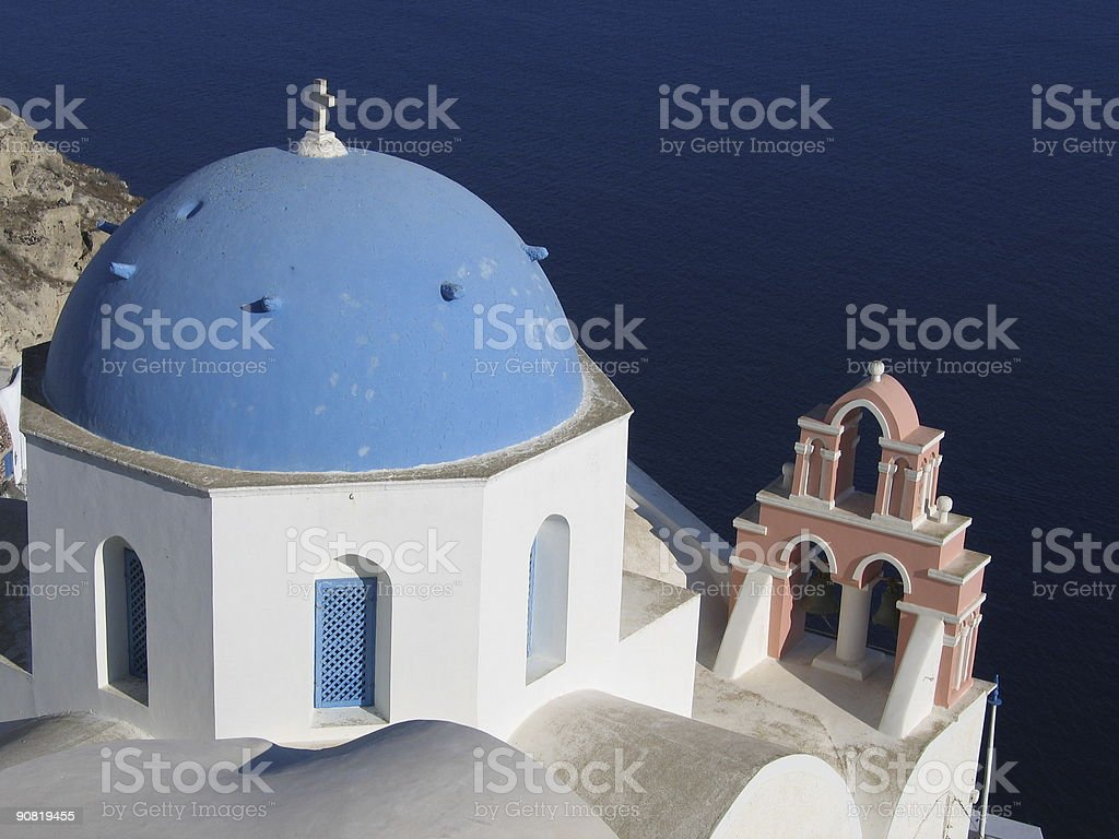 Typical church in Santorini stock photo