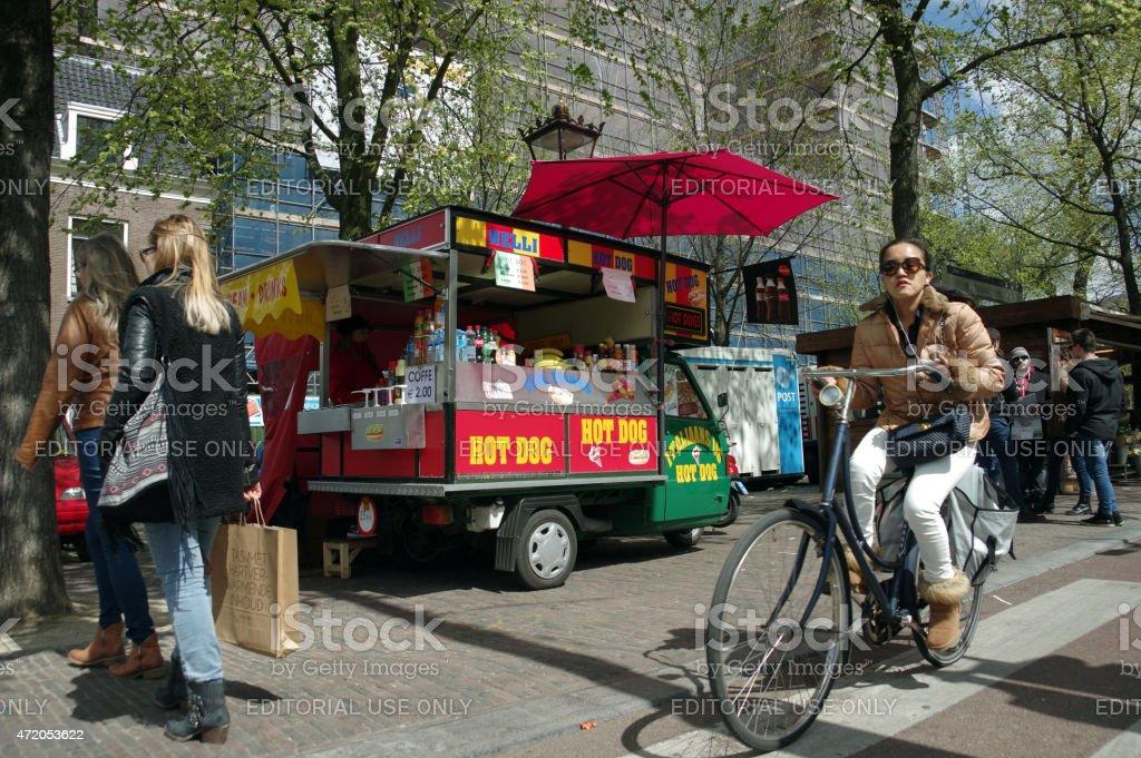 Typical city scene in Amsterdam stock photo