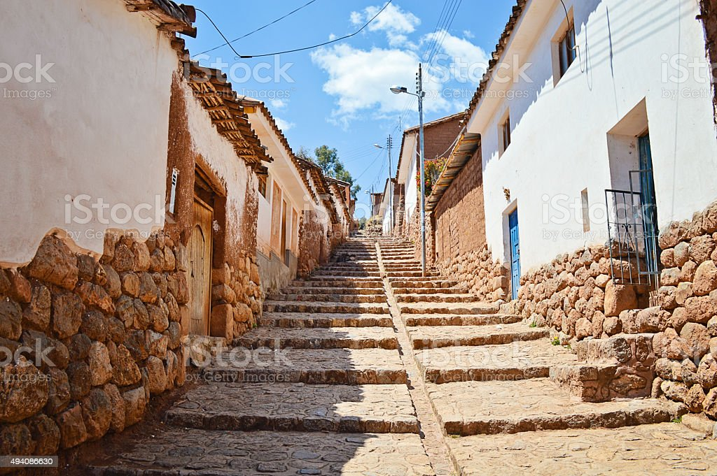 Typical Cobbled Street in Chinchero, Peru stock photo