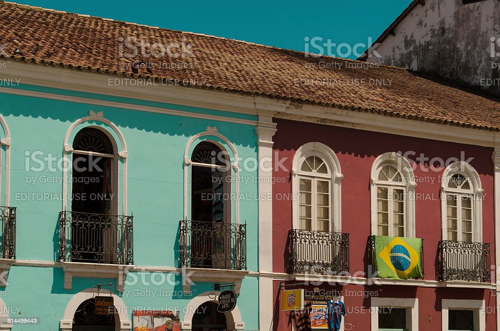 typical colonial style houses of salvador stock photo