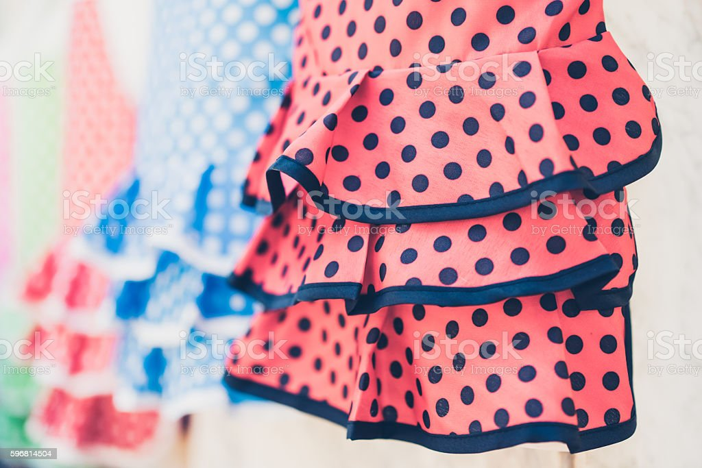 Typical colored Spanish flamenco dress stock photo