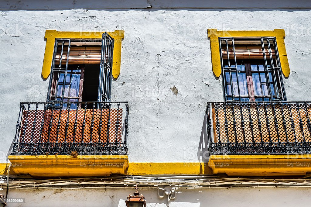 Typical colorful Spanish window found in Southern Spain stock photo