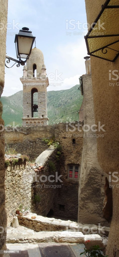 Typical Corsican alley  in Haute Balagne stock photo