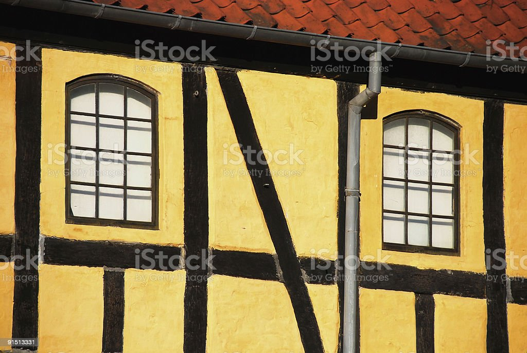 Typical Danish timber framed house royalty-free stock photo