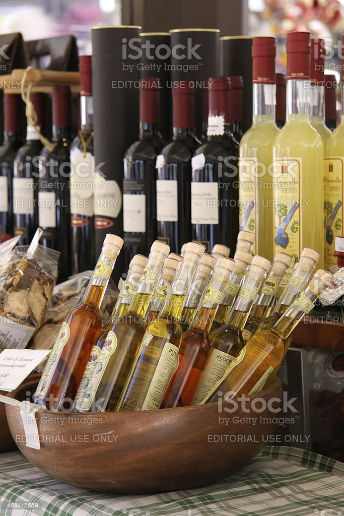 Typical delicacies at a market stall in Verona stock photo