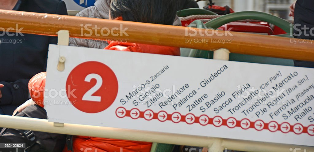 Typical direction sign atttached to front of vaporettos stock photo