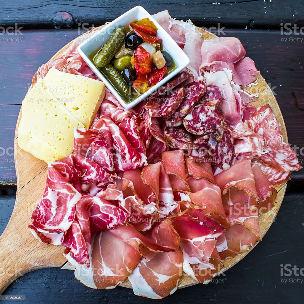 typical dish of Italian appetizer stock photo