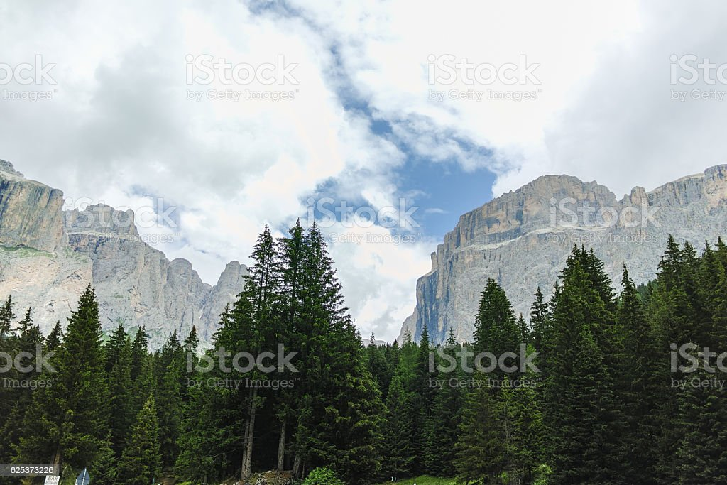 Typical Dolomites landscape in summer stock photo