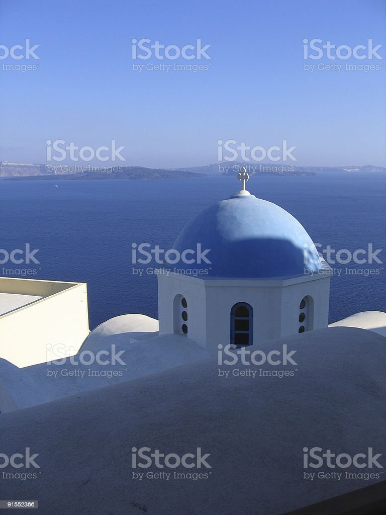 Typical dome in Oia stock photo