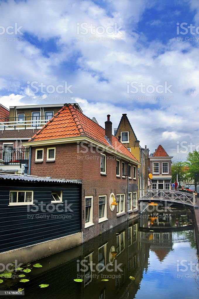 Typical Dutch Architecture over City Canal royalty-free stock photo