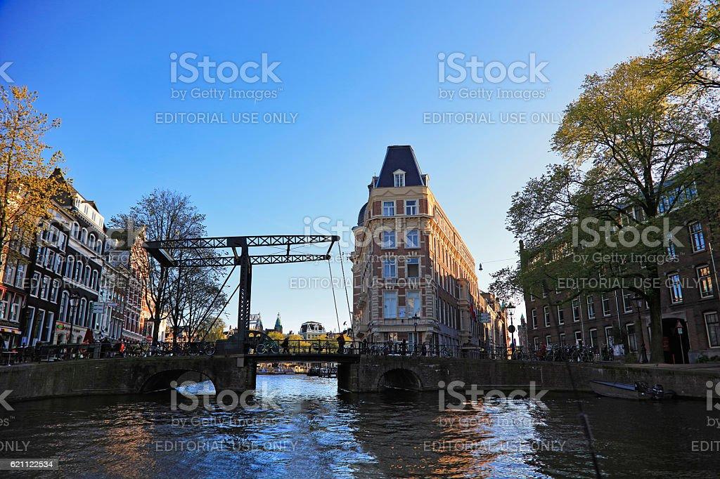 Typical Dutch bascule Bridge, Amsterdam, Netherlands stock photo