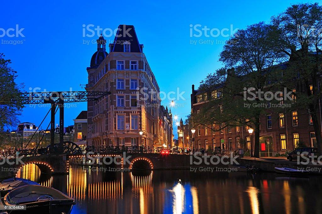 Typical Dutch bascule Bridge at night, Amsterdam, Netherlands stock photo