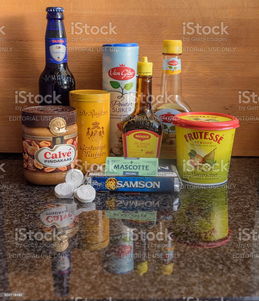 Typical Dutch brands of food, drink, aromas and smokeables stock photo