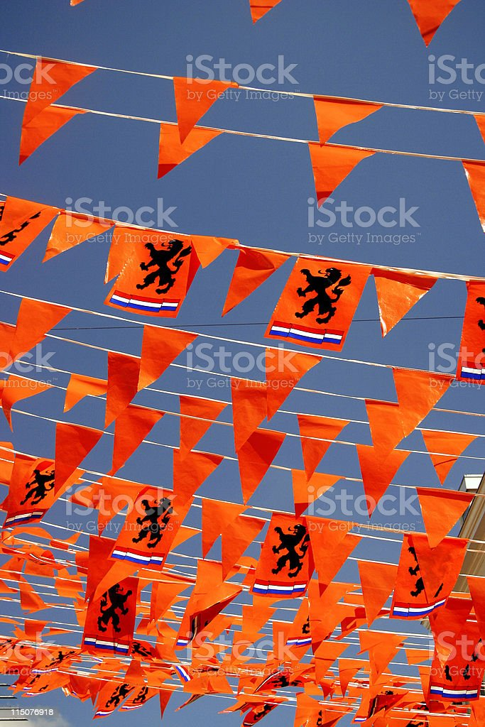 Typical dutch decoration of orange flags featuring dutch lion royalty-free stock photo