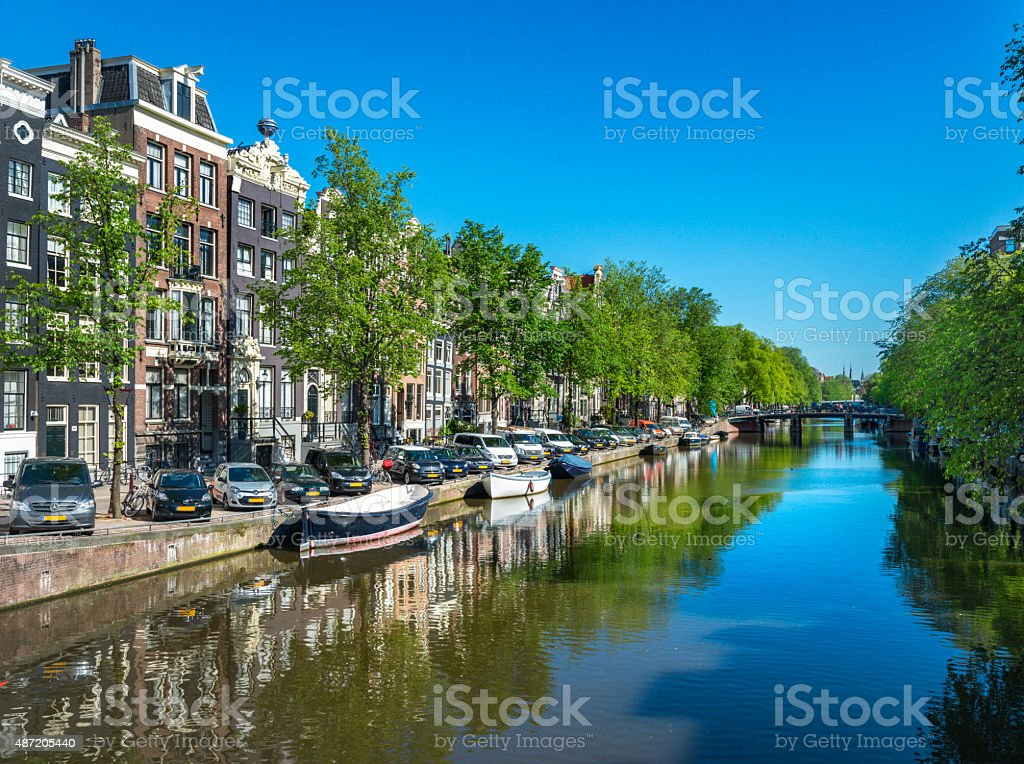 Typical Dutch Houses along the canal ,Center of Amsterdam stock photo