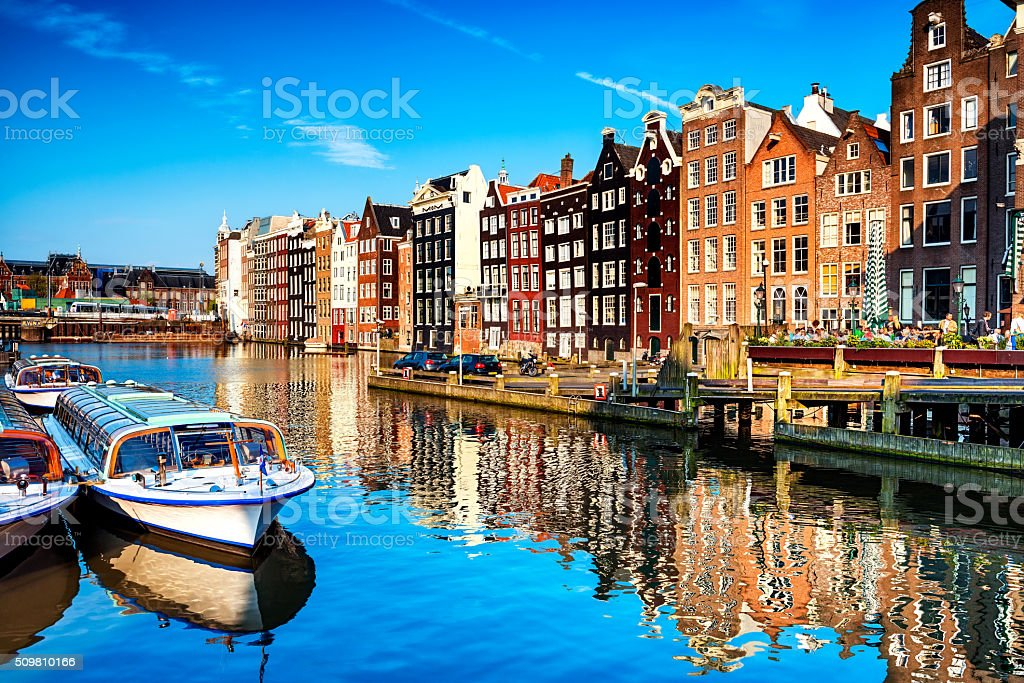 Typical Dutch Houses and Canal in the Center of Amsterdam stock photo