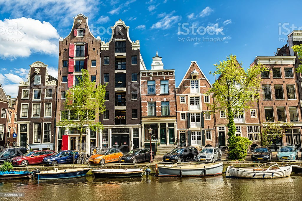 Typical Dutch Houses in Amsterdam stock photo