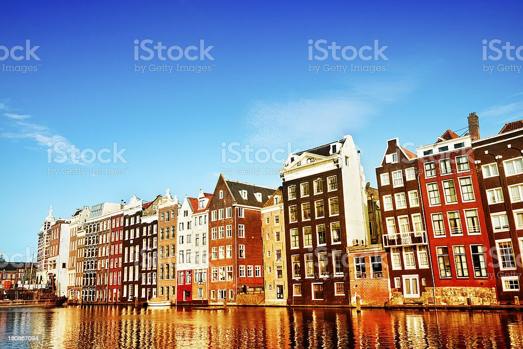 Typical Dutch Houses in the Center of Amsterdam royalty-free stock photo